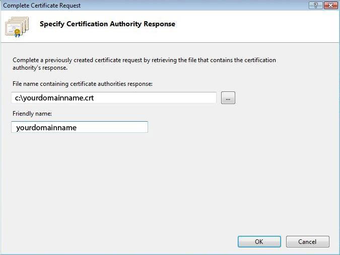Complete Certificate Request - kreator